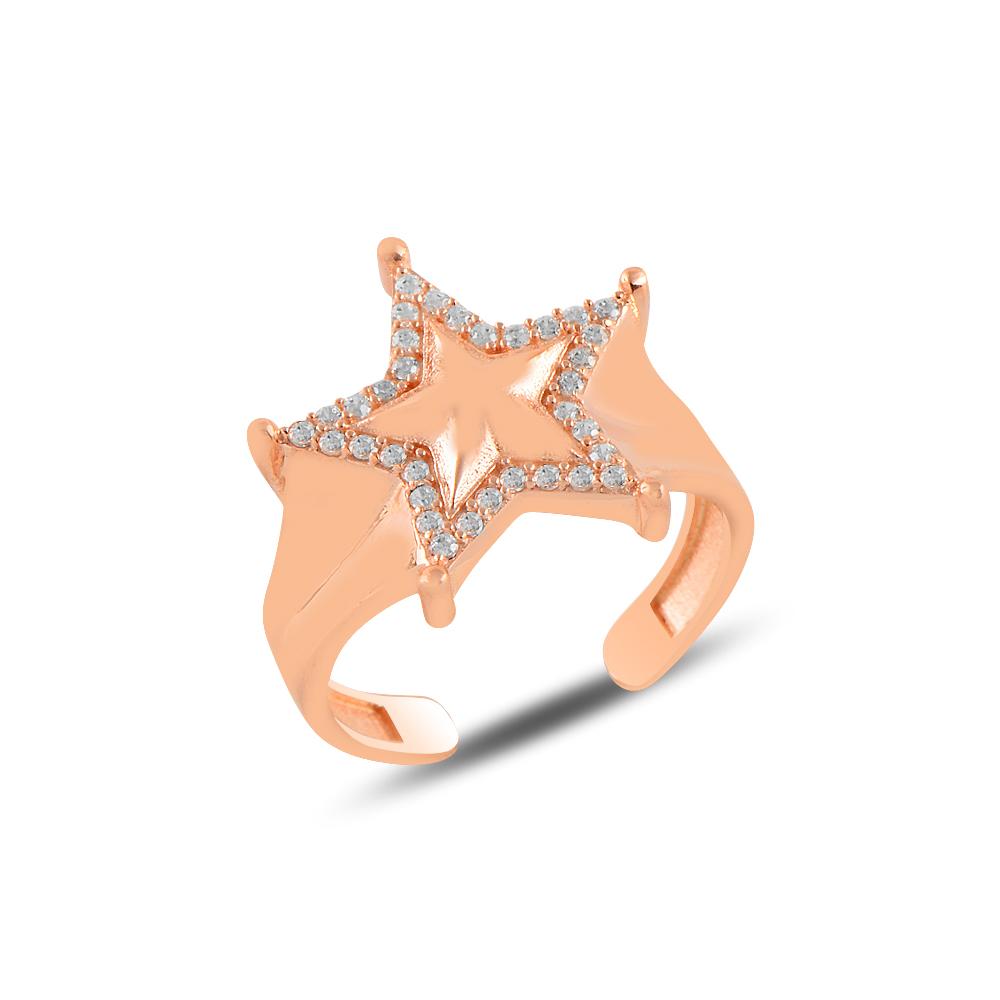 925 Ayar Rose Gold Taşlı Ayarlanabilen Yıldız Yüzük