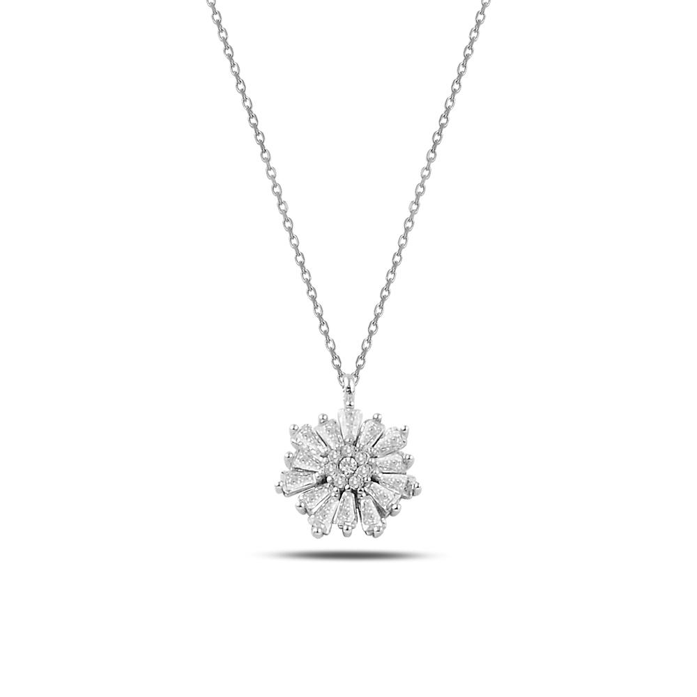925 ayar gümüş zirkon baget taşlı kar tanesi kolye