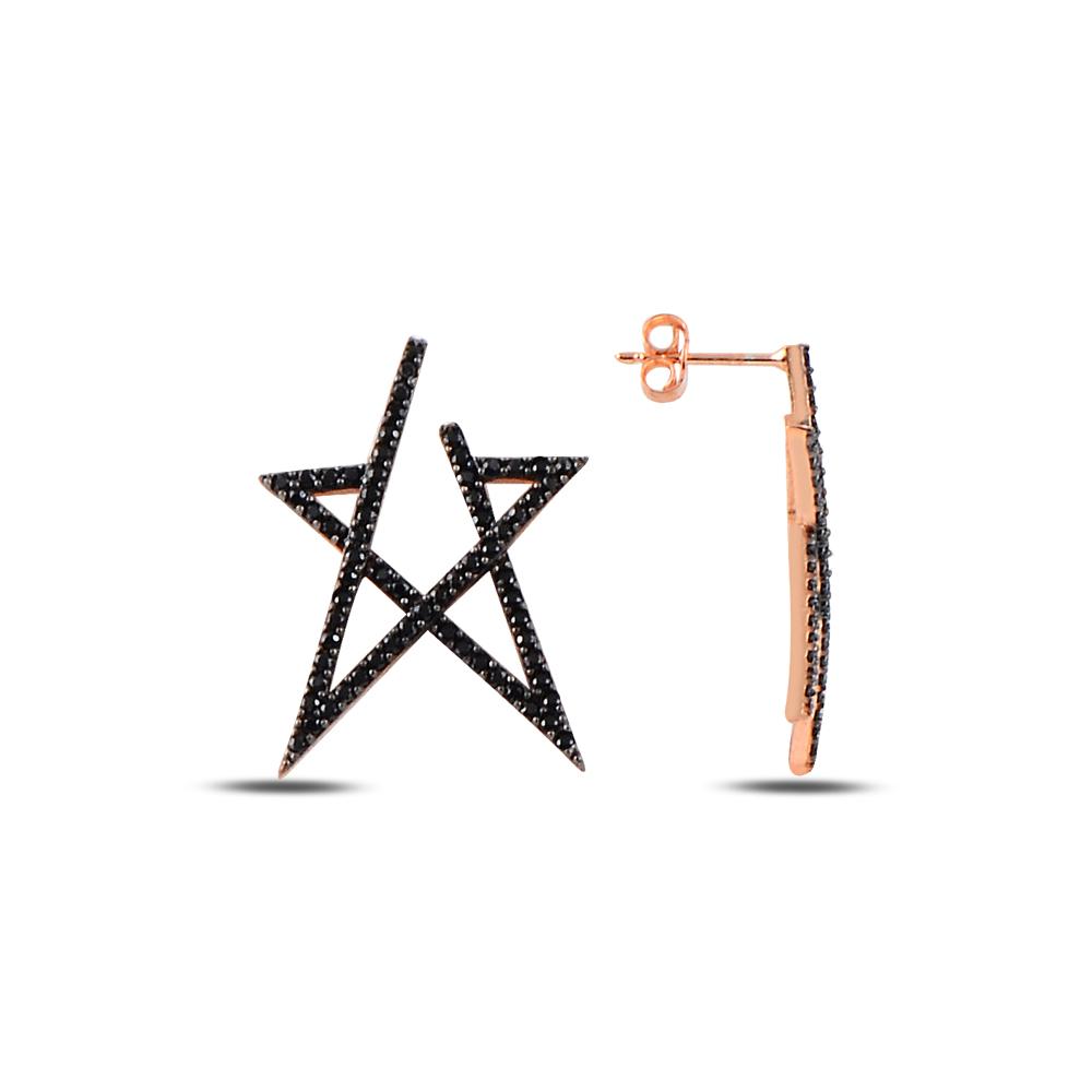 925 ayar gümüş siyah zirkon taşlı yıldız küpe