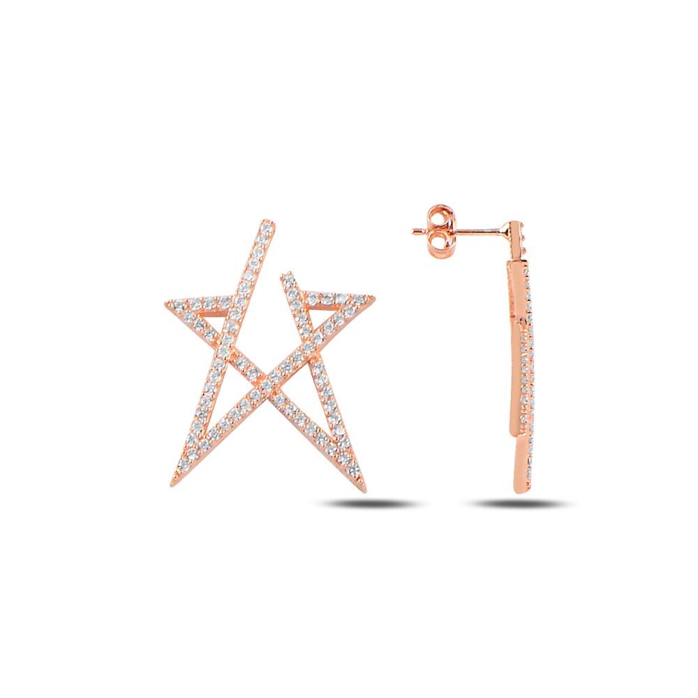 925 ayar gümüş beyaz zirkon taşlı yıldız küpe