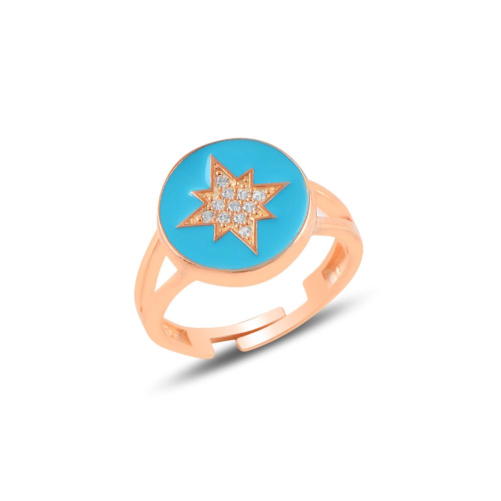 925 Ayar Rose Gold Mineli Kuzey Yıldızı Ayarlanabilen Yüzük