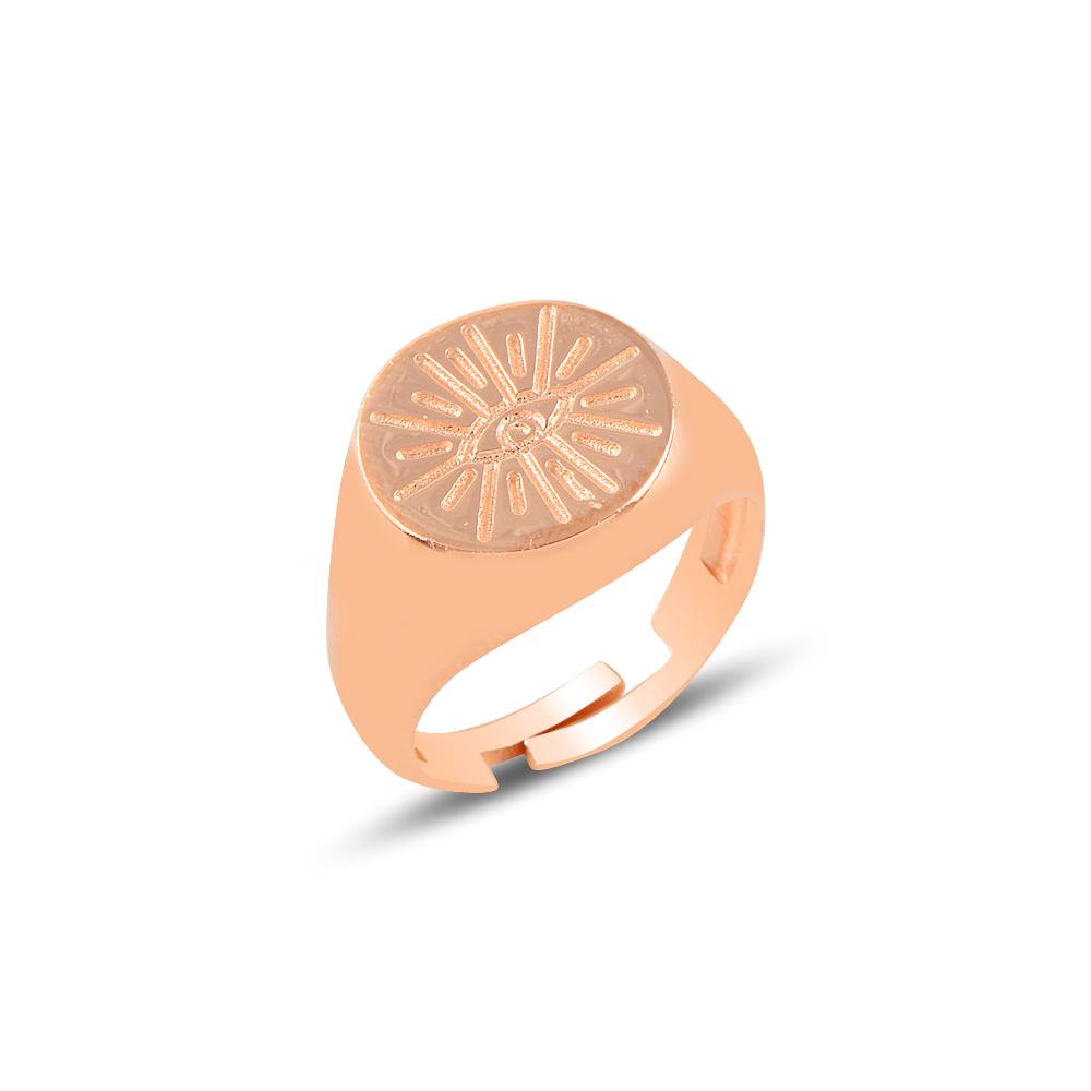 925 Ayar Rose Gold Ayarlanabilen Taşsız Güneş Yüzük