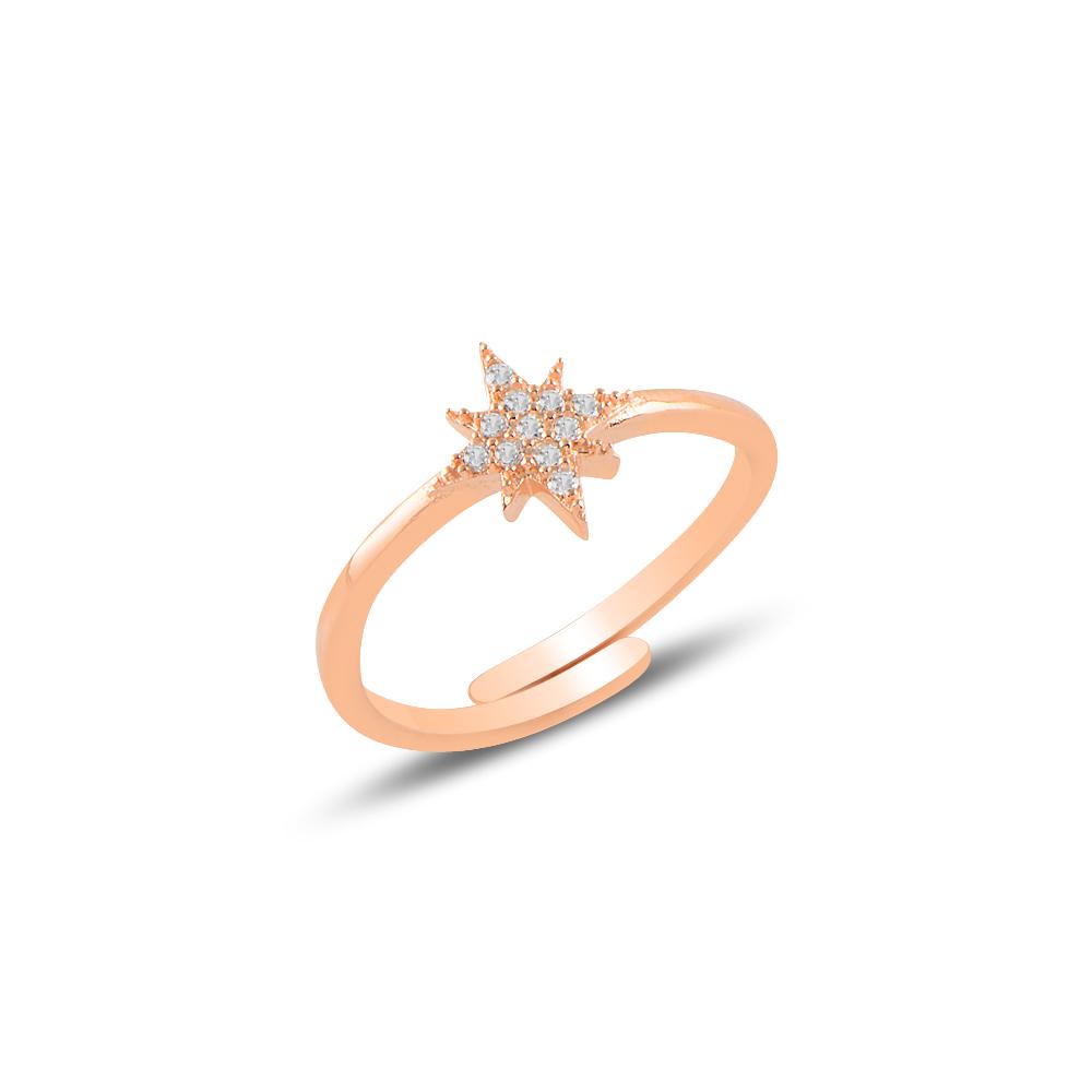 925 Ayar Rose Gold Basıc Kutup Yıldızı Ayarlanabilen Yüzük