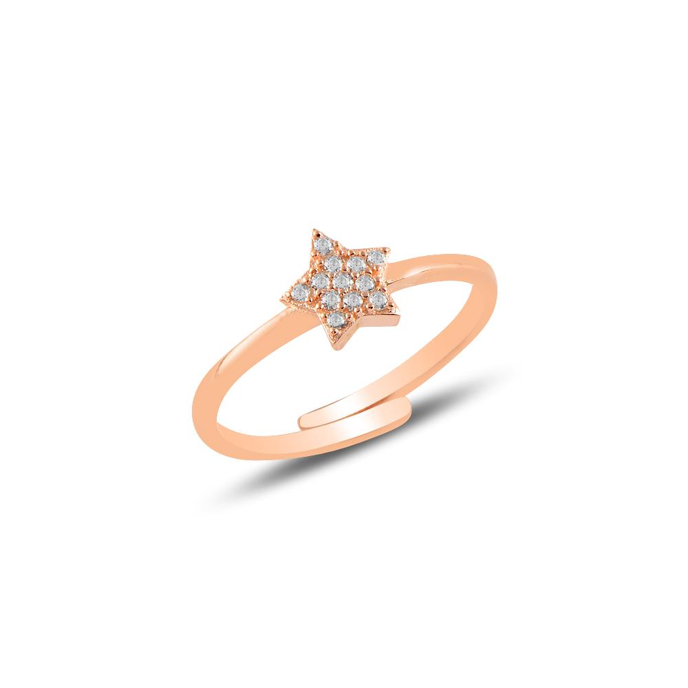 925 Ayar Ayarlanabilen Rose Gold Basic Yıldız Yüzük