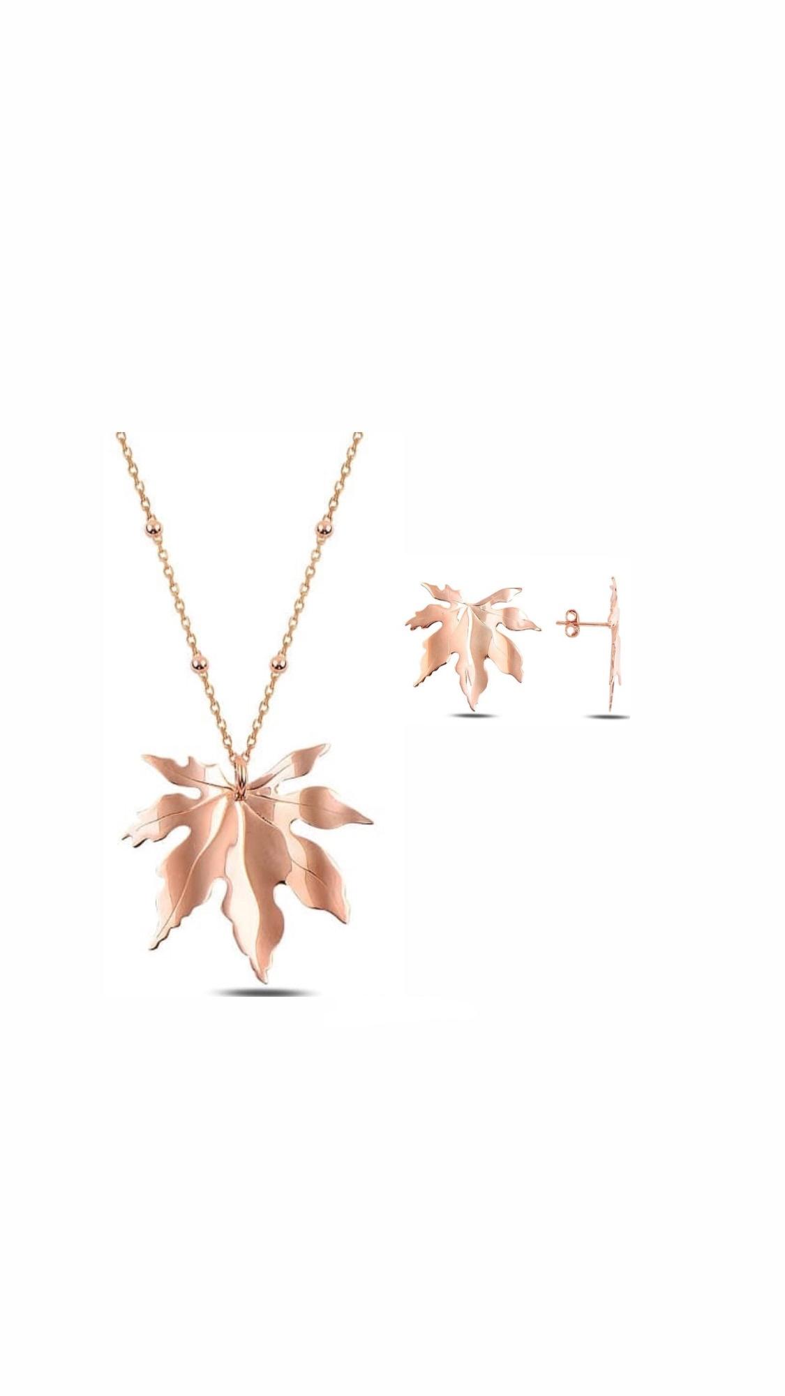 925 Ayar Rose Gold Çınar Yaprağı Set