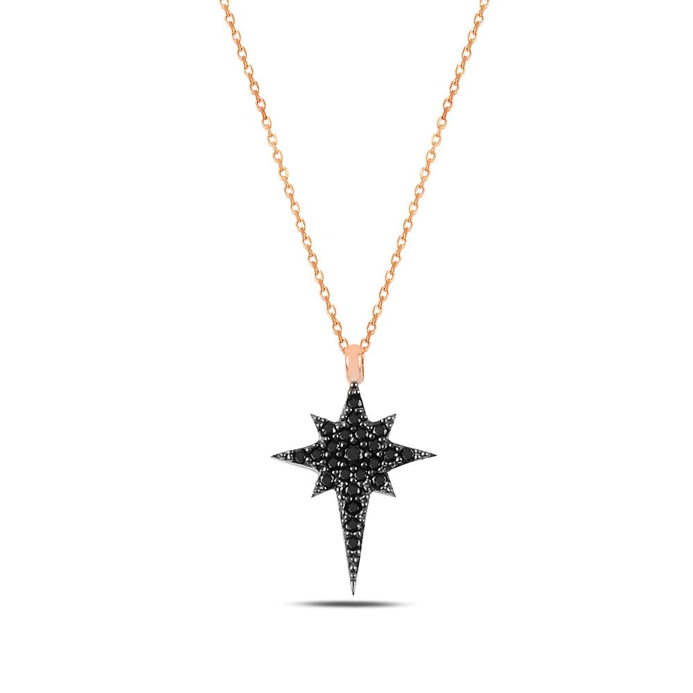 925 ayar gümüş siyah zirkon taşlı kutup yıldızı kolye