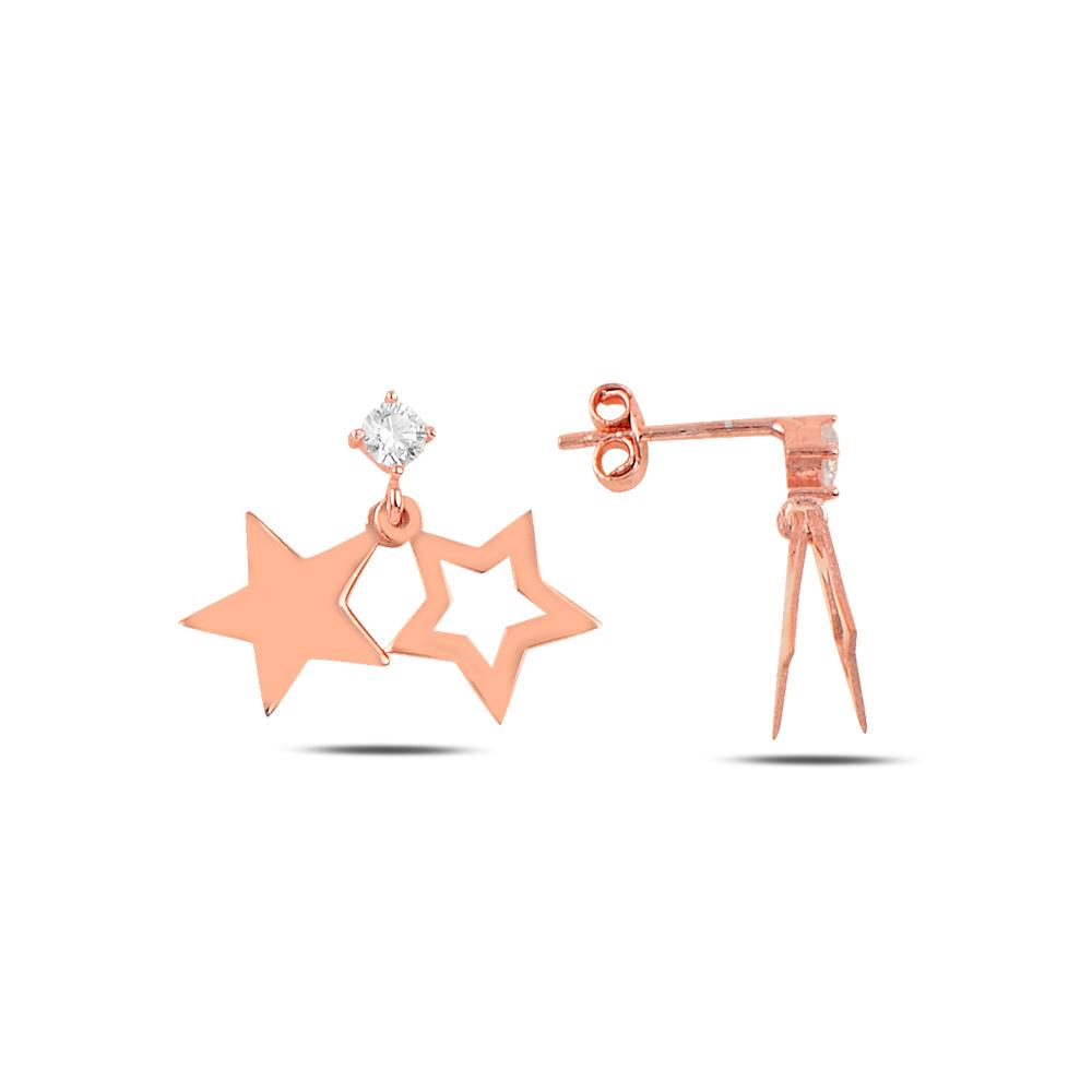 925 ayar gümüş tek taşlı yıldız küpe