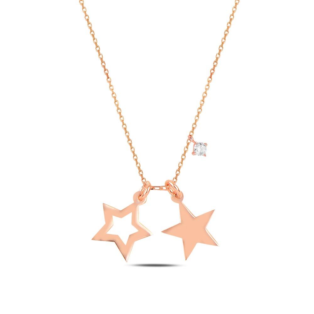 925 ayar gümüş tek taşlı yıldız kolye