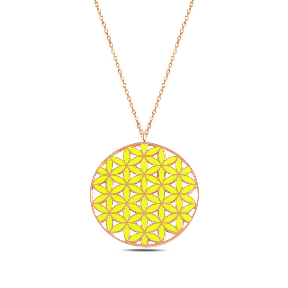 925 ayar gümüş sarı mineli yaşam çiçeği kolye