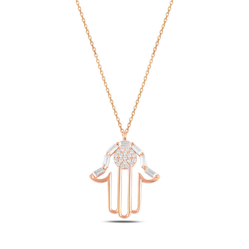 925 ayar gümüş roz gold baget taslı fatıma ana kolye