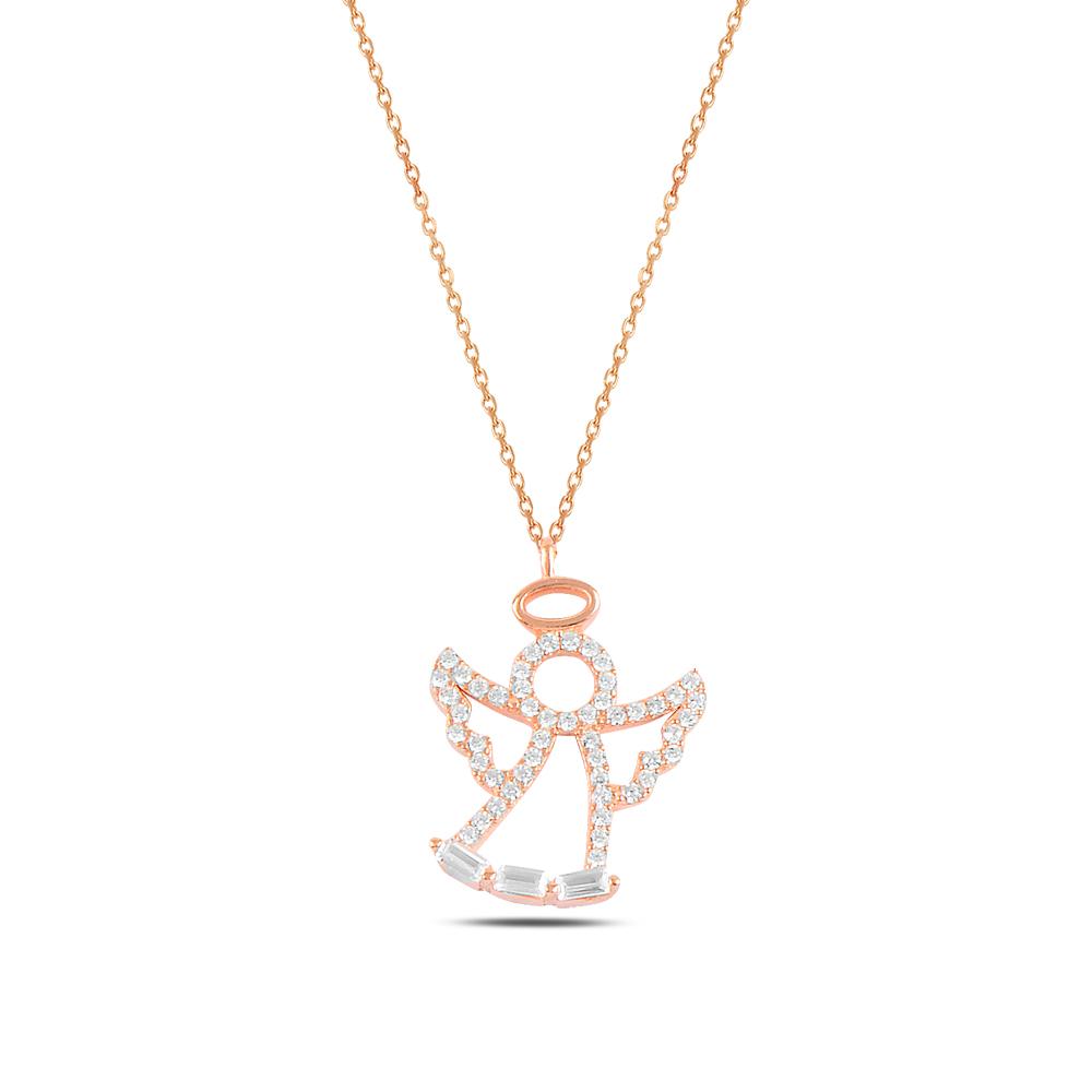 925 ayar gümüş roz gold baget taşlı melek kolye