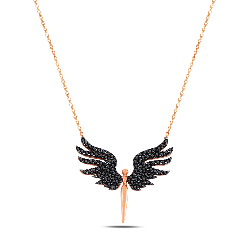 925 ayar gümüş roz gold siyah taşlı mikail kolye