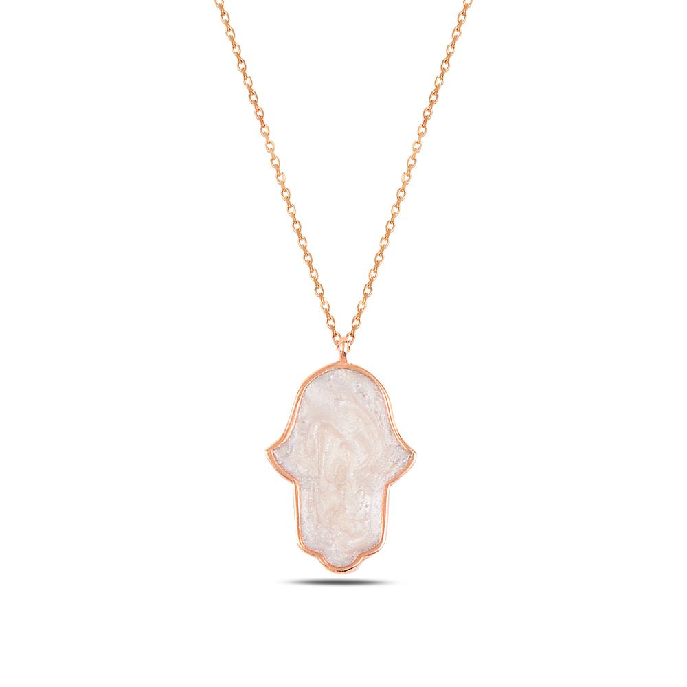 925 ayar gümüş roz gold beyaz mineli fatıma ana kolye