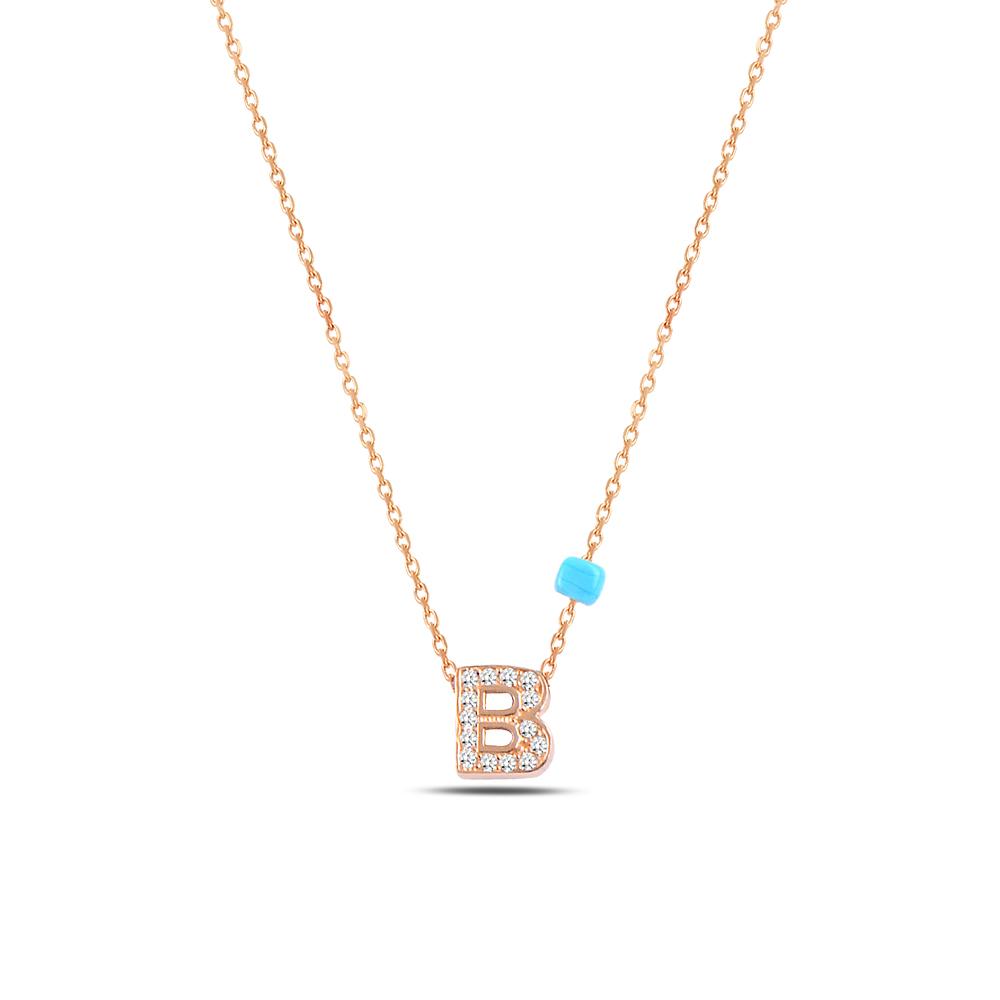 925 ayar gümüş minimal zirkon taşlı B harfi kolye