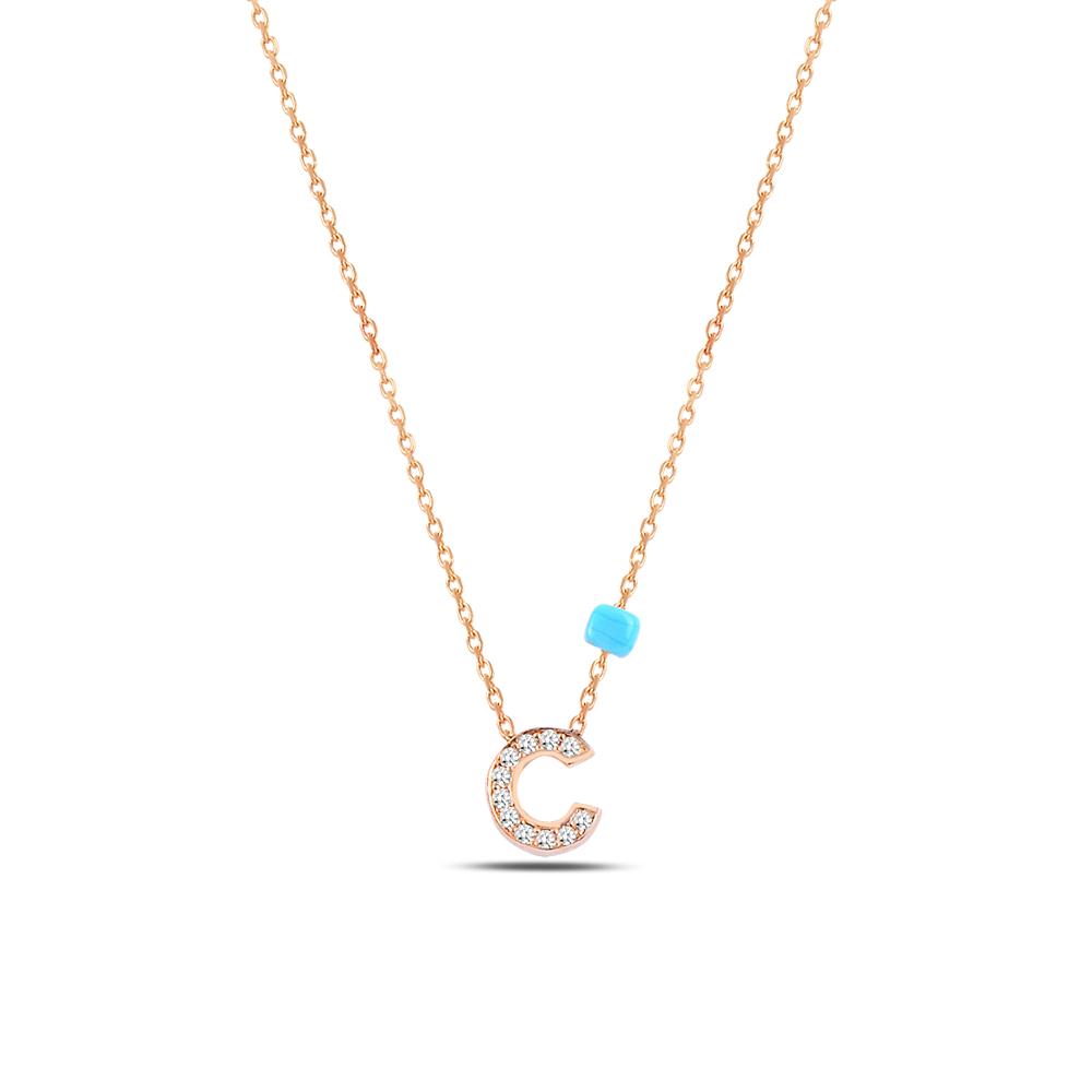 925 ayar gümüş minimal zirkon taşlı C harfi kolye