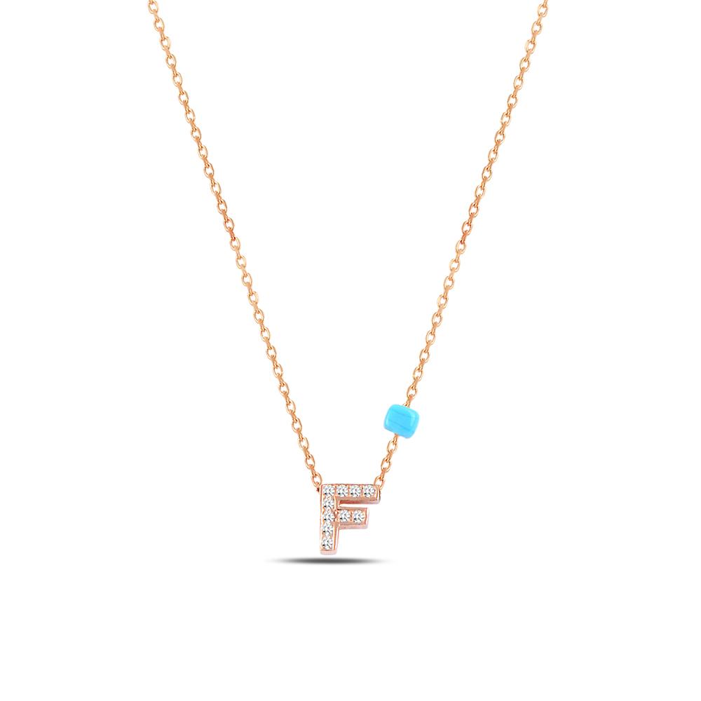 925 ayar gümüş minimal zirkon taşlı F harfi kolye