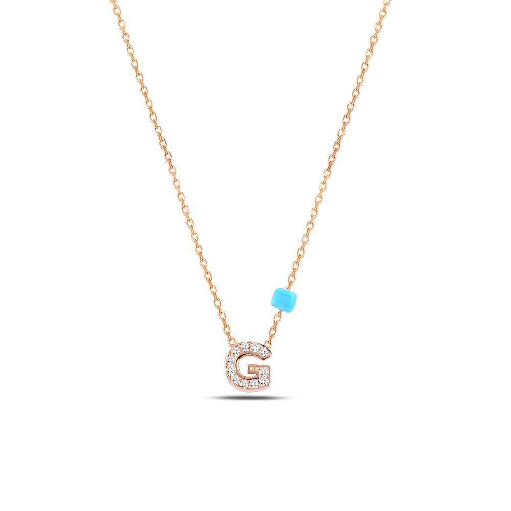 925 ayar gümüş minimal zirkon taşlı G harfi kolye