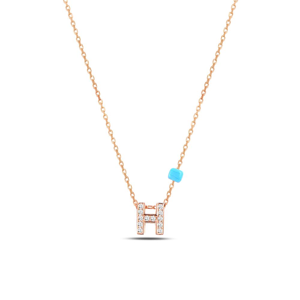 925 ayar gümüş minimal zirkon taşlı H harfi kolye