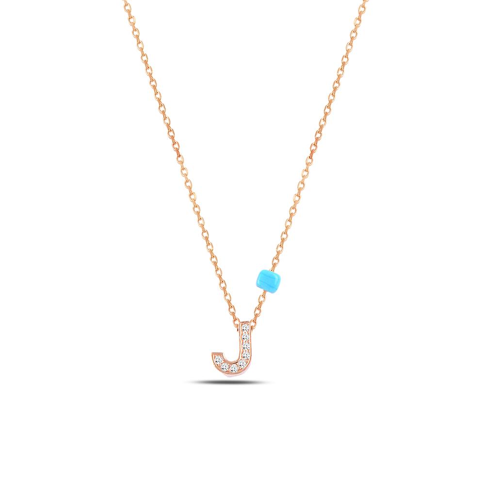 925 ayar gümüş minimal zirkon taşlı J harfi kolye