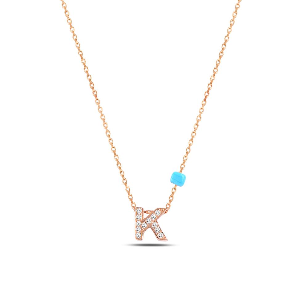 925 ayar gümüş minimal zirkon taşlı K harfi kolye