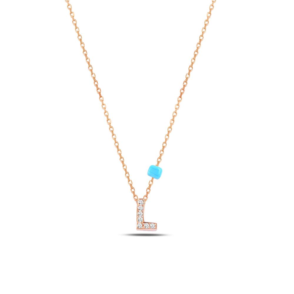 925 ayar gümüş minimal zirkon taşlı L harfi kolye