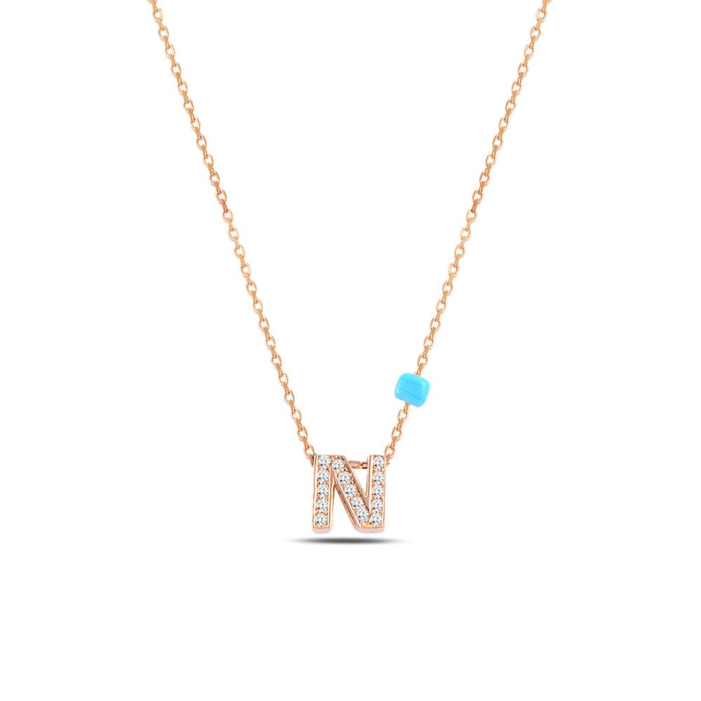 925 ayar gümüş minimal zirkon taşlı N harfi kolye