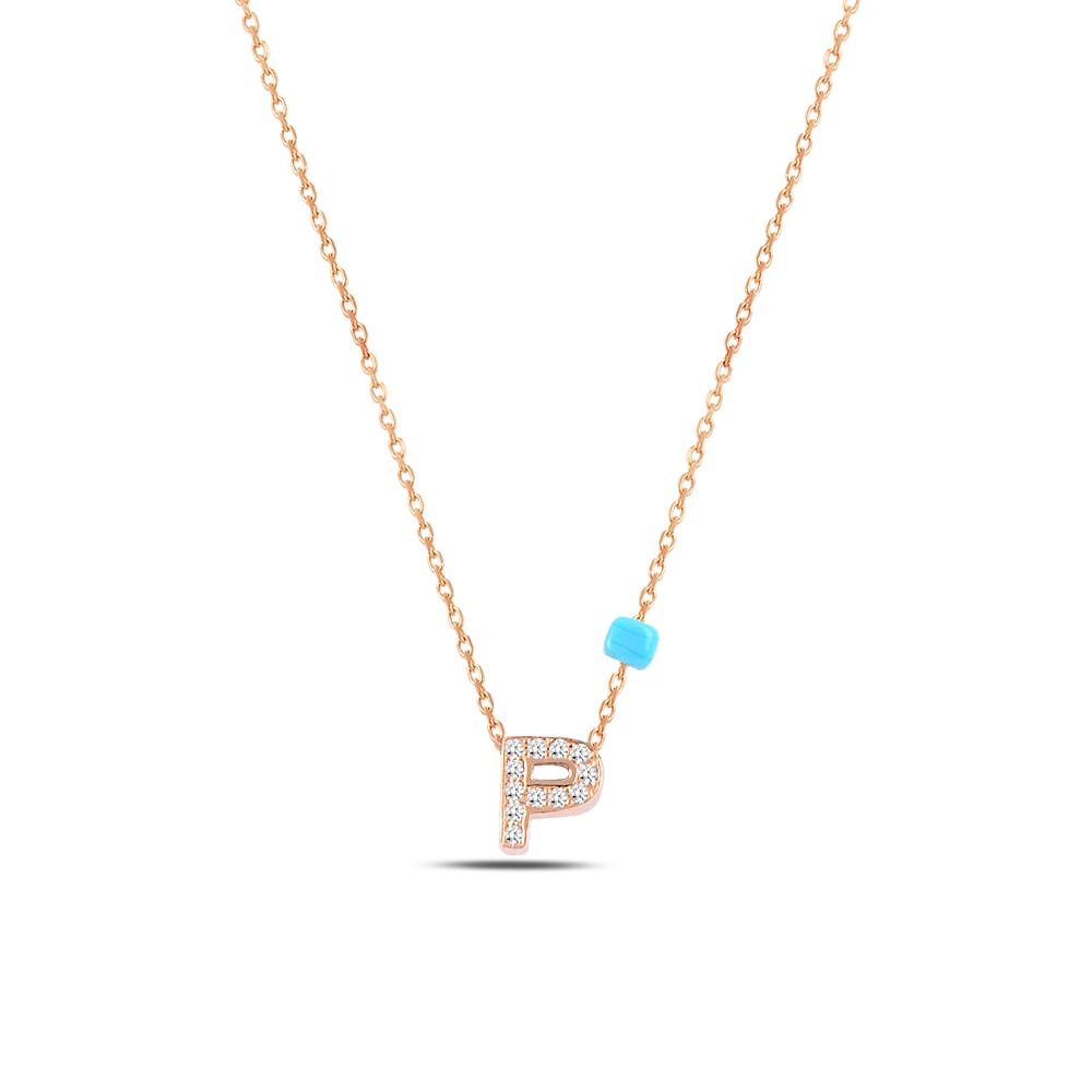 925 ayar gümüş minimal zirkon taşlı P harfi kolye