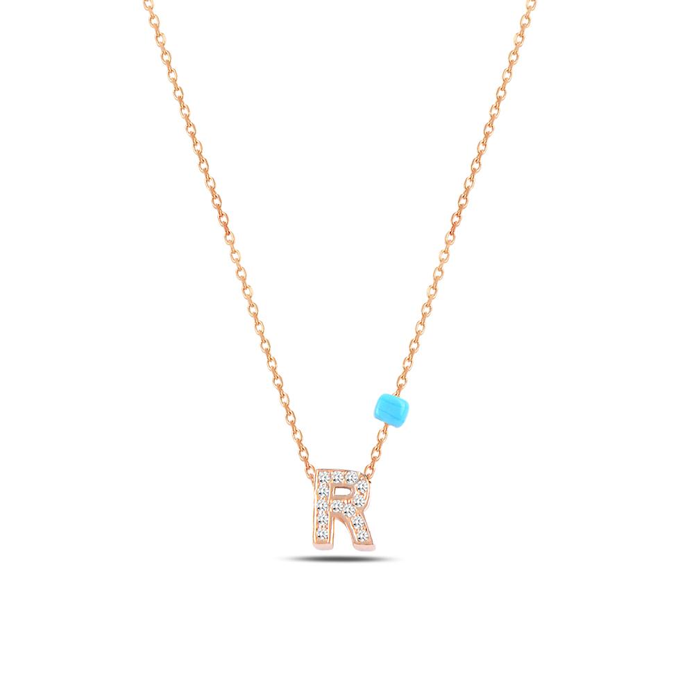 925 ayar gümüş minimal zirkon taşlı R harfi kolye