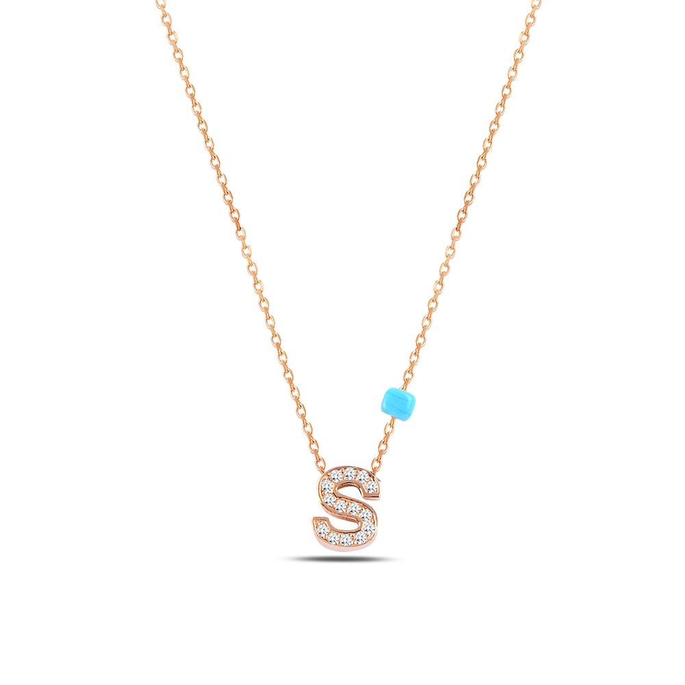 925 ayar gümüş minimal zirkon taşlı S harfi kolye
