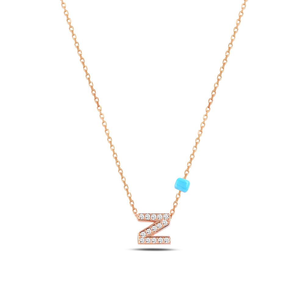 925 ayar gümüş minimal zirkon taşlı Z harfi kolye