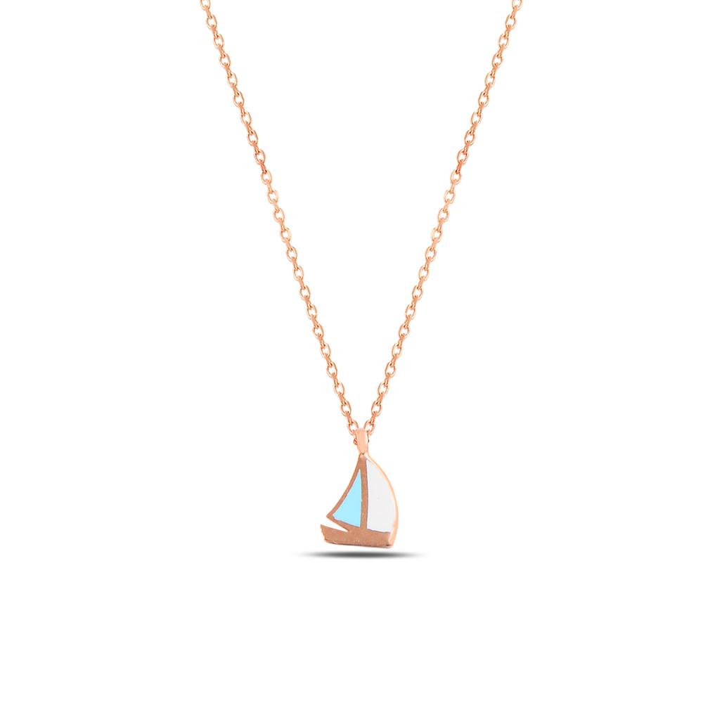 925 ayar gümüş mineli minimal yelken kolye