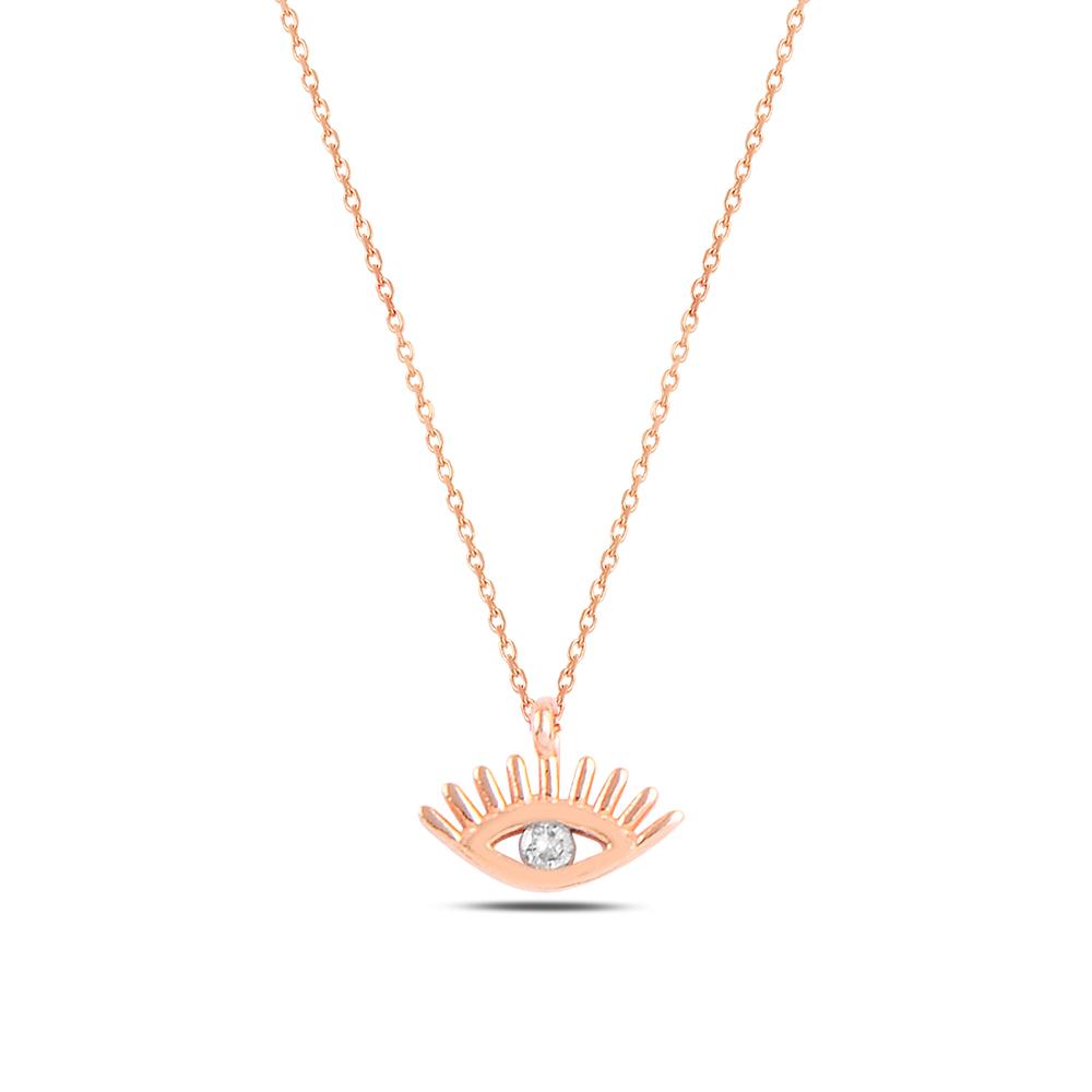 925 ayar gümüş zirkon taşlı minimal göz kolye