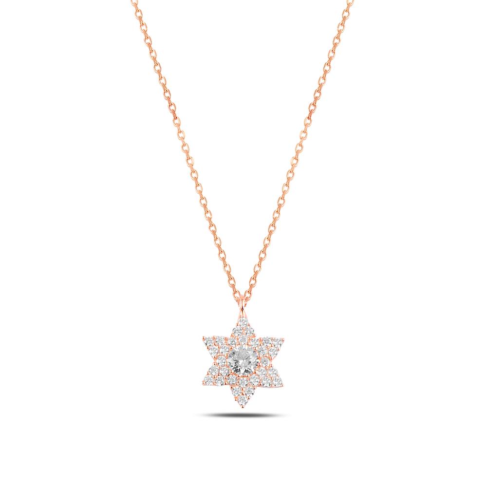 925 ayar gümüş zirkon taşlı yıldız kolye