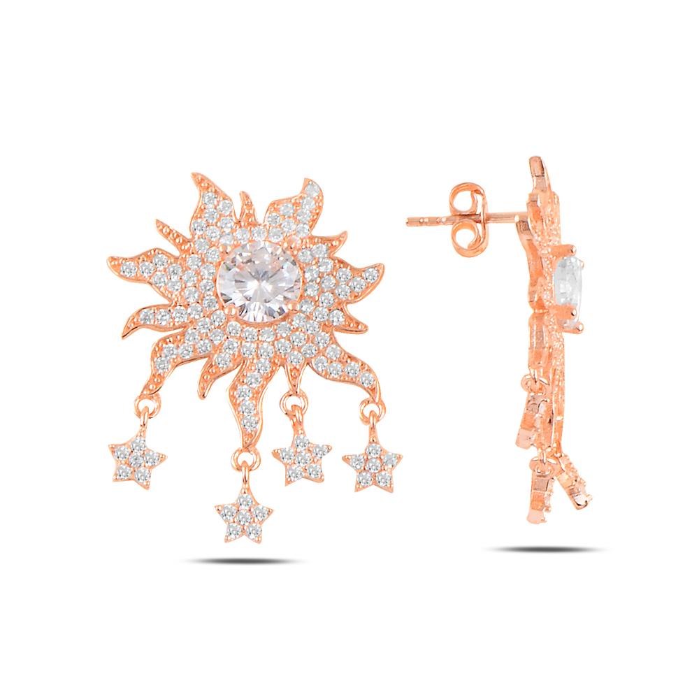 925 ayar rose gold zirkon taşlı yıldız sallantı güneş küpe
