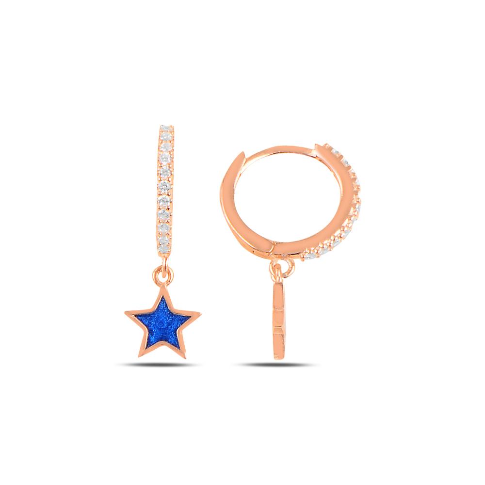 925 ayar gümüş rose gold lacivert mineli yıldız küpe