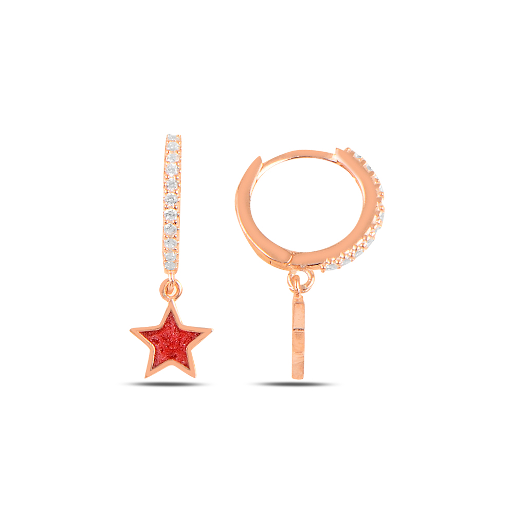 925 ayar gümüş rose gold kırmızı mineli yıldız küpe
