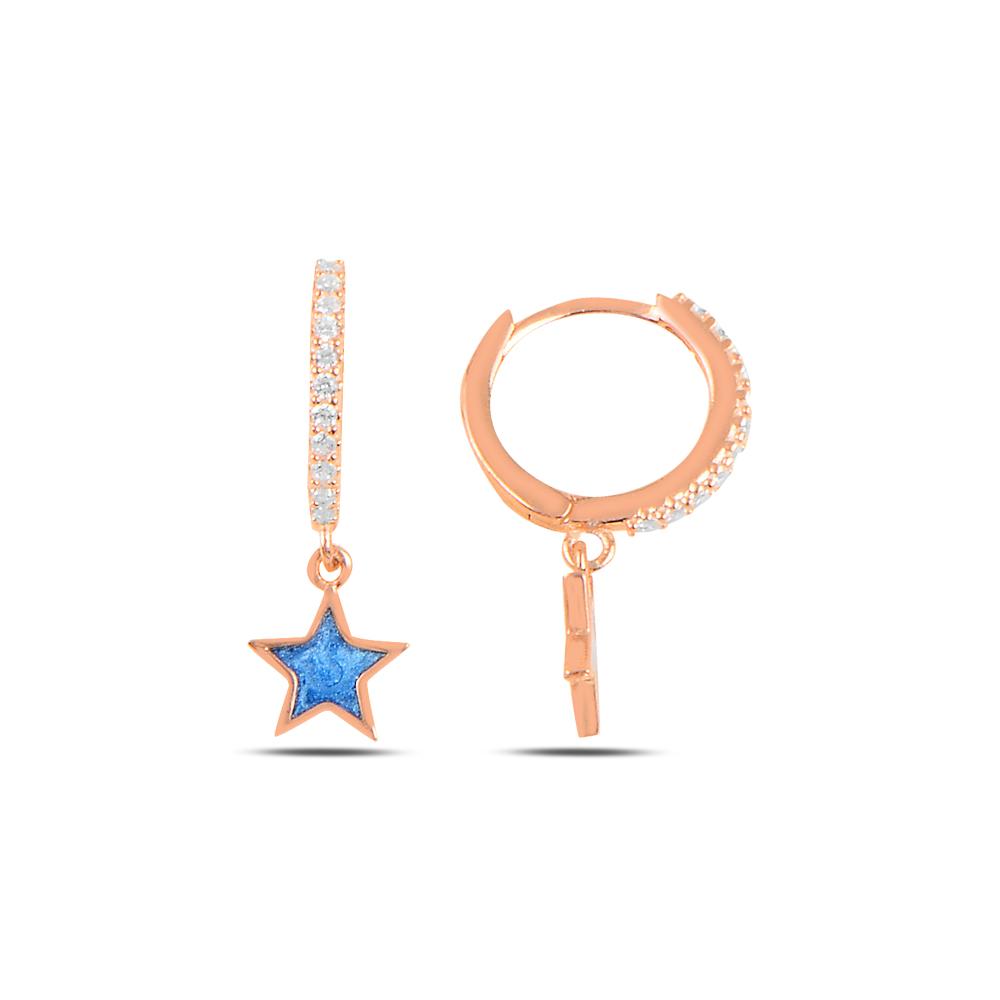 925 ayar gümüş rose gold mavi mineli yıldız küpe