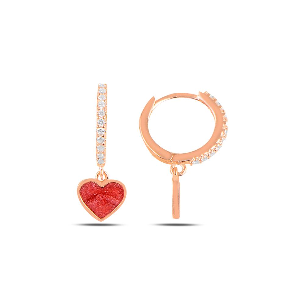 925 ayar gümüş rose gold kırmızı mineli kalp küpe
