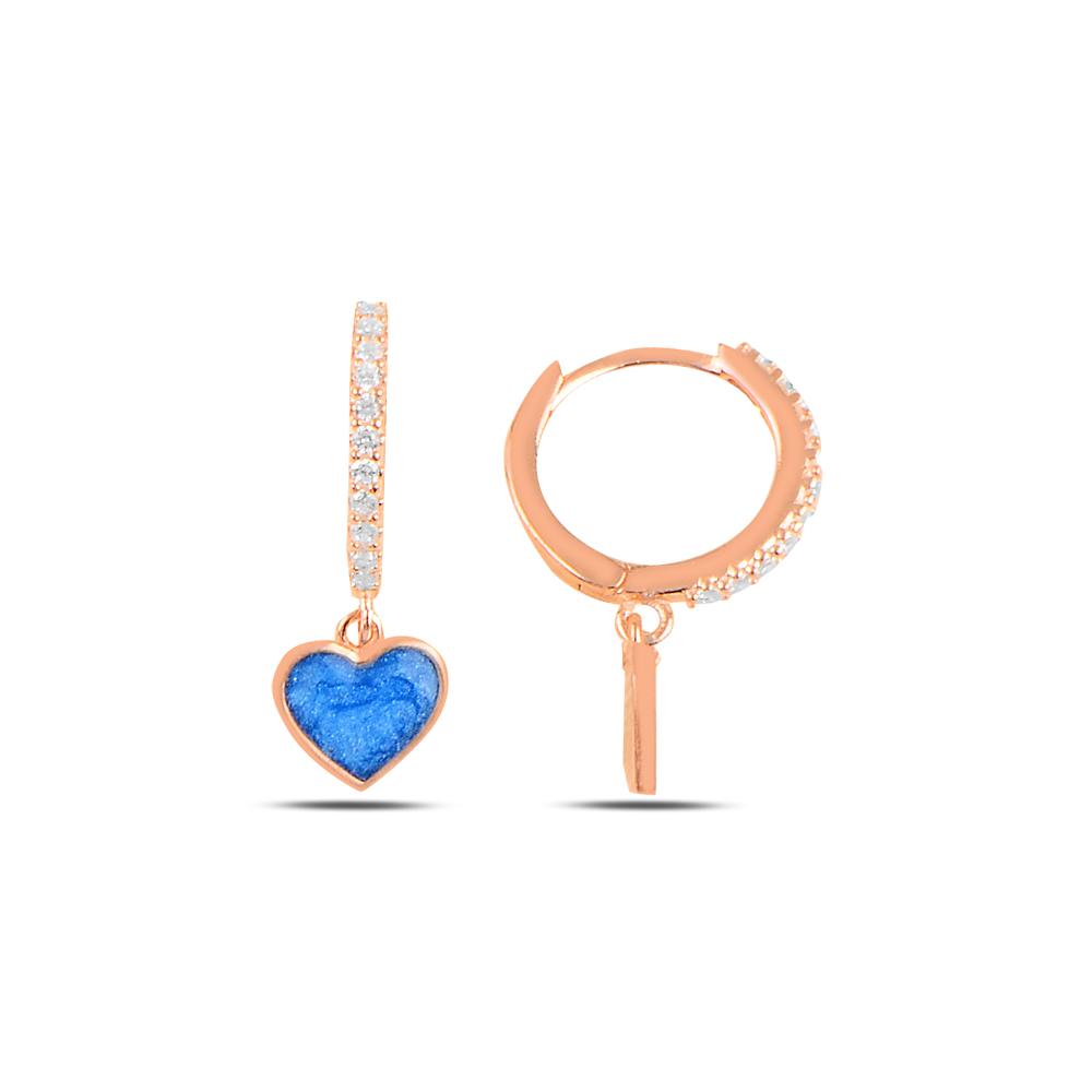 925 ayar gümüş rose gold mavi mineli kalp küpe