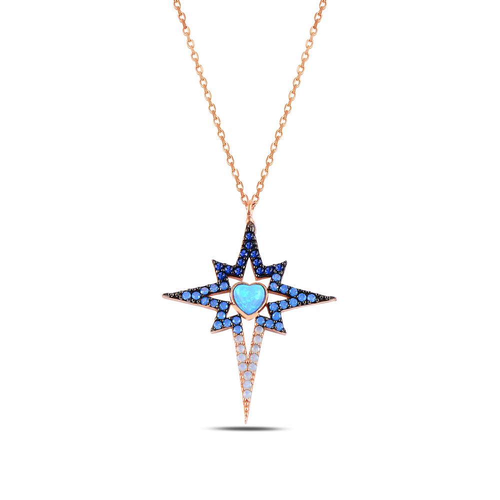 925 ayar gümüş zirkon ve opal taşlı kuzey yıldızı kolye