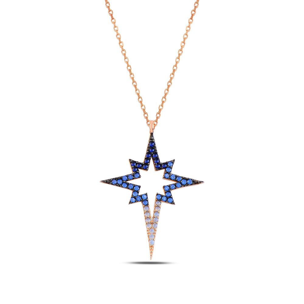 925 ayar gümüş renk geçişli zirkon taşlı kuzey yıldızı kolye