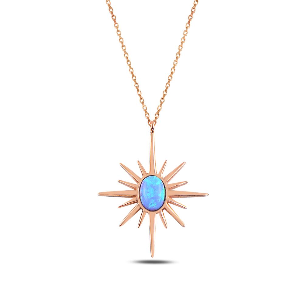 925 ayar gümüş opal taşlı kuzey yıldızı kolye