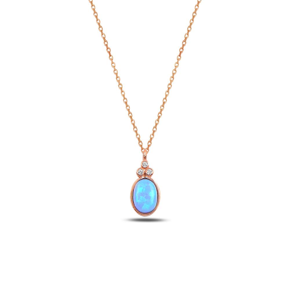 925 ayar gümüş opal taşlı oval kolye