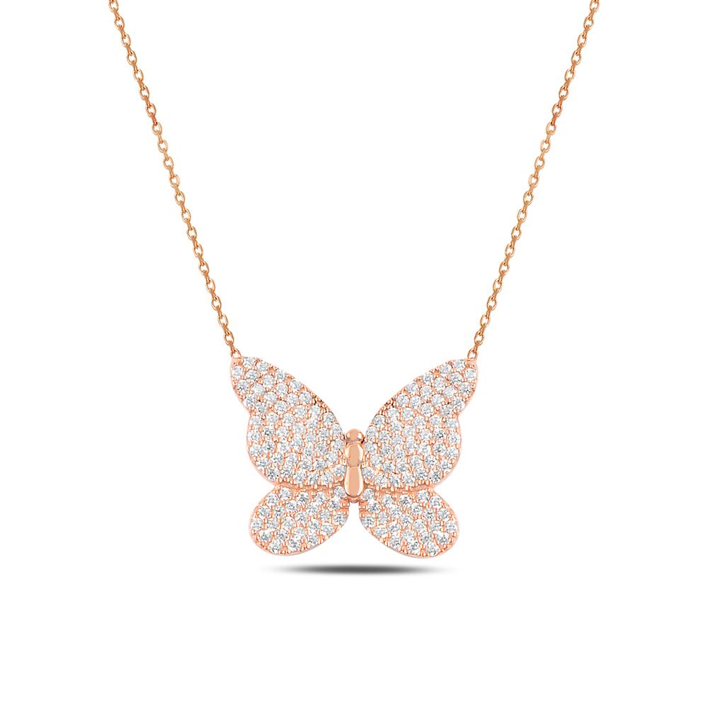 925 ayar gümüş zirkon taşlı kelebek kolye