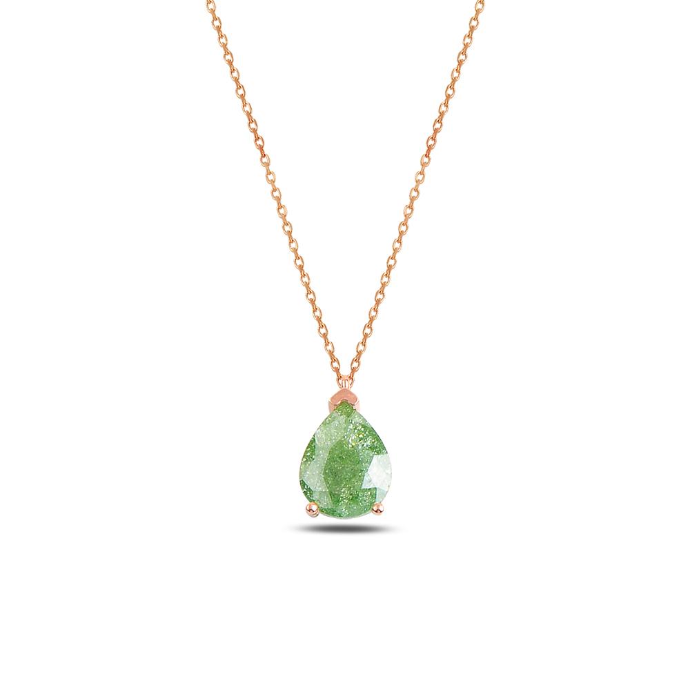 925 ayar gümüş yeşil buzlu zirkon damla kolye