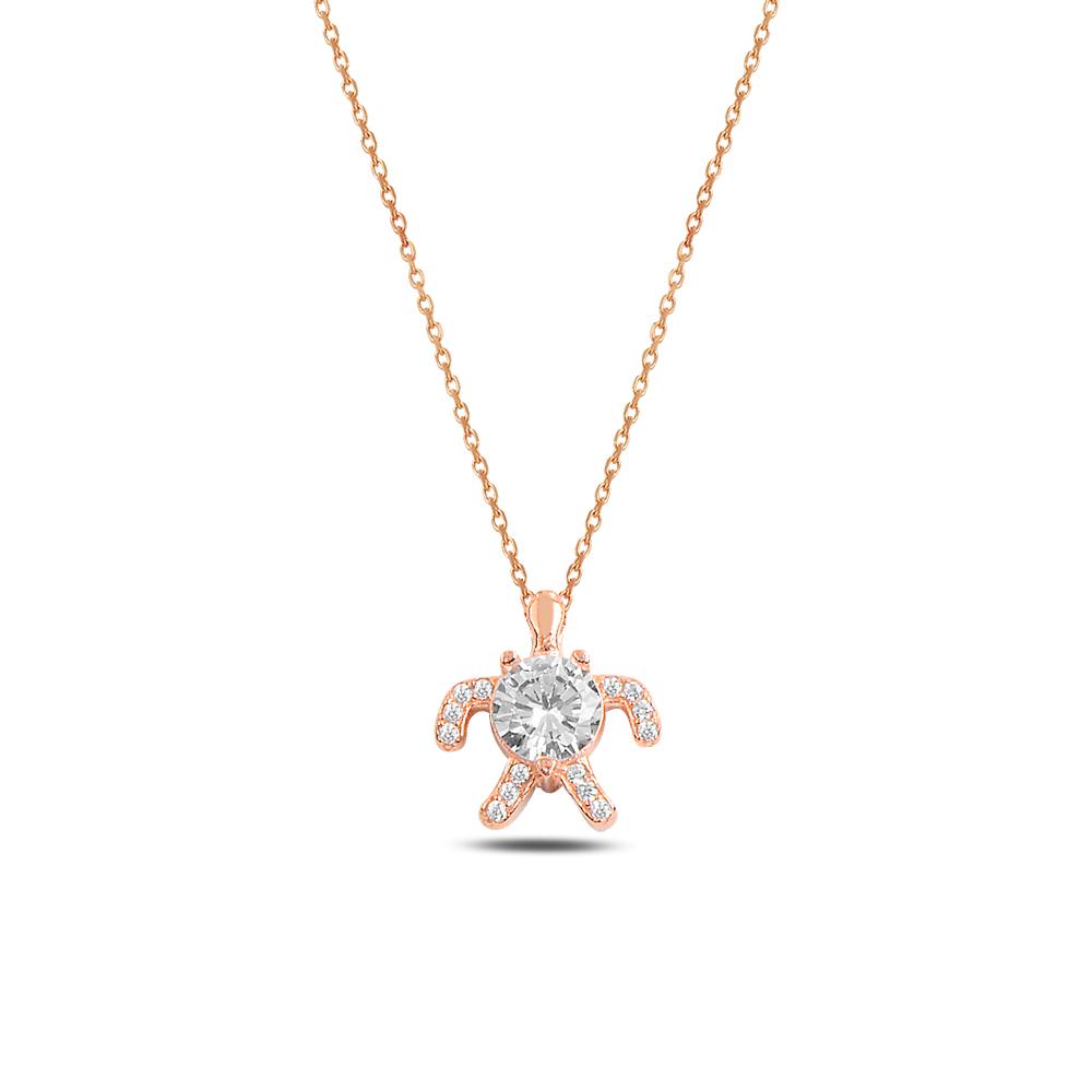 925 ayar gümüş zirkon taşlı kaplumbağa kolye