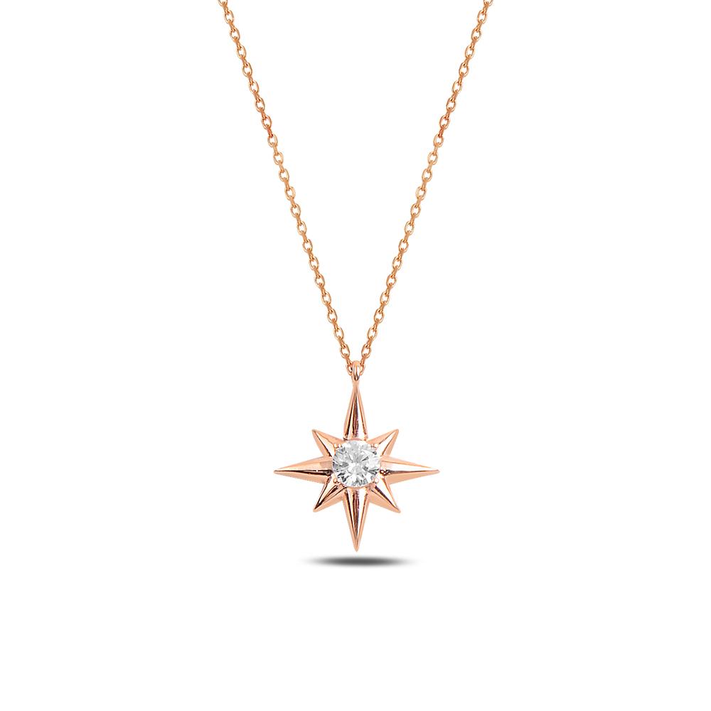 925 ayar gümüş zirkon taşlı kuzey yıldızı kolye