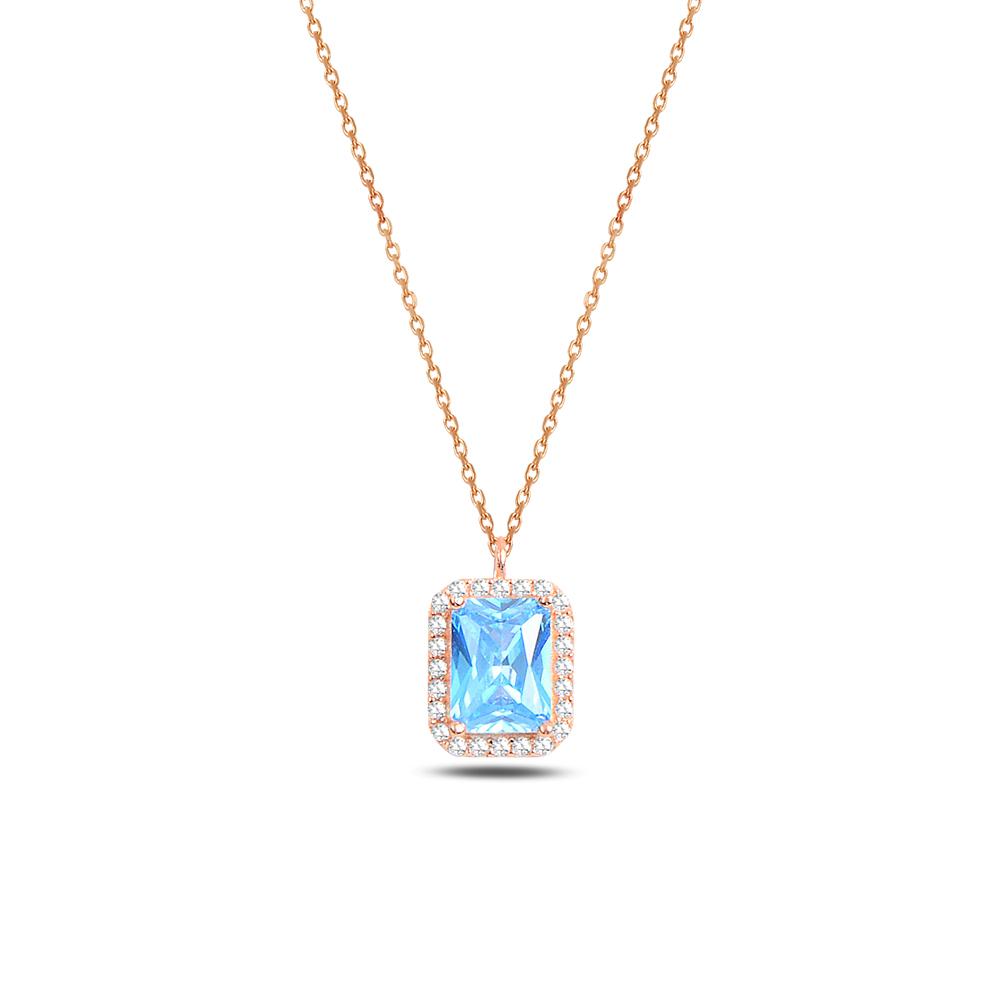 925 ayar gümüş aquamarine zirkon taşlı baget kolye