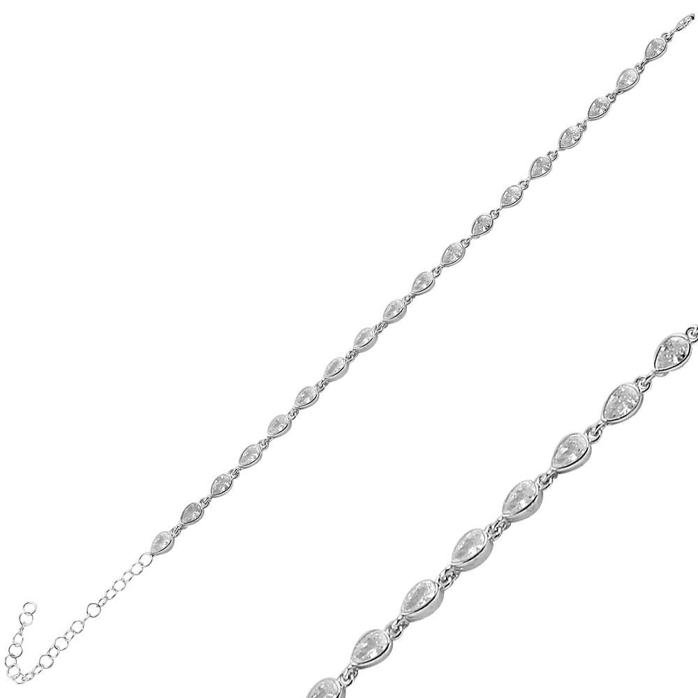 925 ayar gümüş beyaz zirkon damla taşlı bileklik