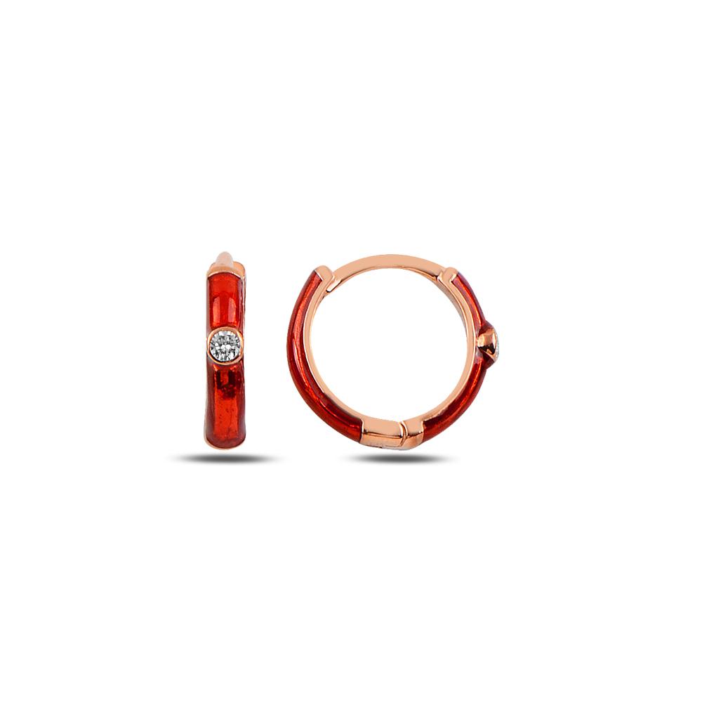 925 ayar günüş kırmızı mineli halka küpe